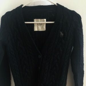 Abercrombie&Fitch Navy Cable Knit Button Cardigan